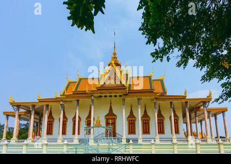 Wat Preah Keo Morokat Wat (Silberne Pagode) (Tempel des Smaragd-Buddha), Royal Palace Park, Stadtzentrum, Phnom Penh, Kambodscha, Indochina - Stockfoto
