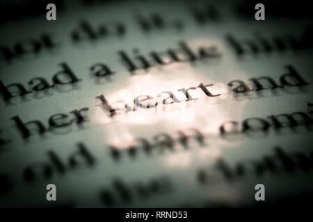 Das Wort Herz in einem Buch Close-up Makro. Jahrgang, Grunge, alt, retro style Foto. - Stockfoto