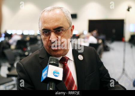 Sharm El Sheikh. 27 Feb, 2019. Palästinensischen Botschafter bei der Europäischen Union (EU) Abdul Rahim al-Farra spricht in einem Interview in Sharm-el-Sheikh, Ägypten, Jan. 25, 2019. Der Botschafter sagte, dass die Liga der Arabischen Staaten (LAS)-EU-Gipfel ist ein neuer Anfang für eine effektive und einflussreichere Rolle Europas in der palästinensischen Sache. In einem Gespräch mit Xinhua während der LAS-EU-Gipfel, der am Montag im ägyptischen Scharm el-Scheich abgeschlossen City, al-Farra sagte, dass die europäischen Staats- und Regierungschefs haben jetzt eine wichtige und aktive Rolle in der palästinensischen Sache. Credit: Ahmed Gomaa/Xinhua/Alamy leben Nachrichten - Stockfoto