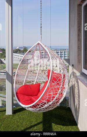 Hängesessel Auf Balkon Zimmer Mit Blick Auf Den Pazifischen Ozean