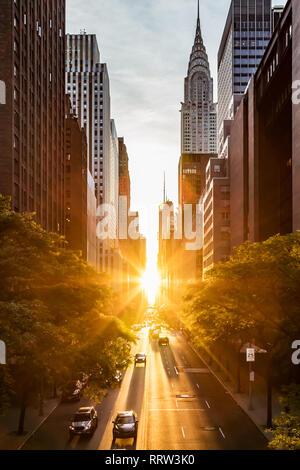 Sonnenuntergang Licht auf die Gebäude und Autos in der 42. Straße in Midtown New York City um die Zeit der Sommersonnenwende Manhattanhenge - Stockfoto