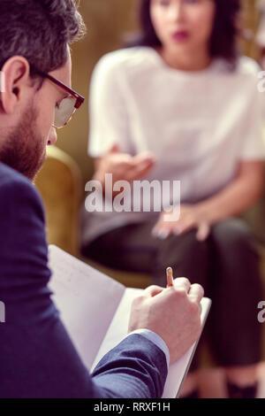 Selektiver Fokus einer Arzt Notizen - Stockfoto