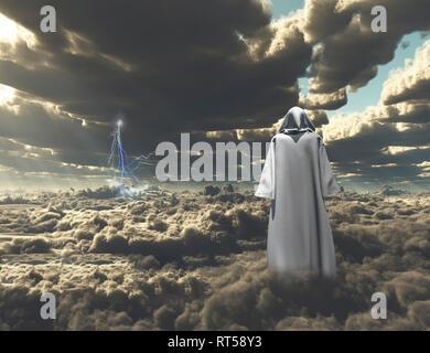 Abbildung Mantel steht auf dem Gebiet der Wolken. - Stockfoto