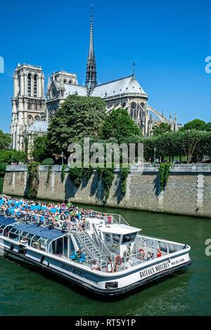 Boot auf dem Fluss Seine und die Kathedrale Notre Dame, Paris, Frankreich - Stockfoto