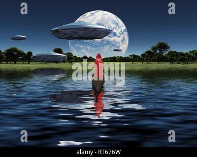 Mönch in roten Mantel schwebt im Boot. Raumschiffe in den Himmel. Big exoplanet am Horizont. - Stockfoto