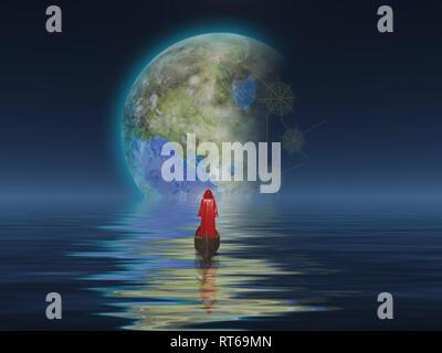 Abbildung Mantel schwebt im Boot in Richtung terraformed Mond. - Stockfoto