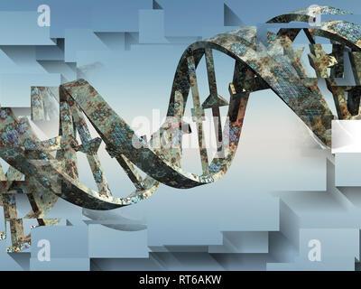 Surreale digitaler Kunst beschädigt verrostete DNA-Stränge. - Stockfoto