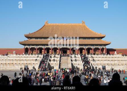 Peking, China - Januar 16, 2019: Die verbotene Palast in der Stadt Beijing, China. Es ist der größte Palast in China. Die berühmten antiken Verboten Ci - Stockfoto