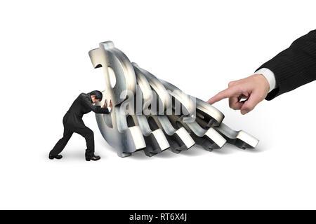 Geschäftsmann der fallende Dollar Währungssymbole stoppen mit großen Hand drücken, auf weißem Hintergrund. Domino Effekt und Problemlösung von - Stockfoto