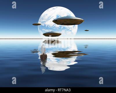 Mönch fährt im Boot. Der blaue Planet in der Ferne gesehen. Raumschiffe fliegt über der Wasseroberfläche. - Stockfoto
