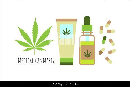 Die medizinische Verwendung von Cannabis Konzept. Öl, Kapseln und Creme aus Hanf. Vektor - Stockfoto