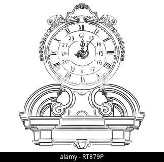 Alte schnitzerei Barock, Vektor hand Zeichnung Illustration in schwarzer Farbe auf weißem Hintergrund - Stockfoto
