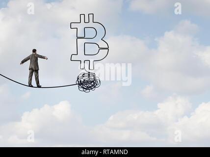 Bitcoin aufstieg und cryptocurrency Unsicherheit und digitale crypto Währung als finanzielle Konzept als Geschäftsmann auf einem Seil. - Stockfoto