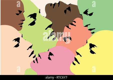 Collage - menschliche Köpfe - Vector Illustration - Bedruckbare, bearbeitbaren Layer Abbildung - Stockfoto