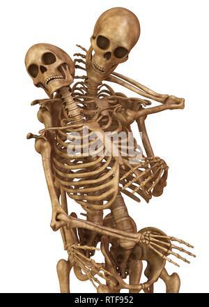 Skelette von Mann und Frau in der Pose der Liebhaber. Auf weissem Hintergrund 3 isolierte d Abbildung - Stockfoto