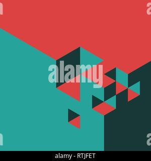 Rot und blaugrün Vektor abstrakte Isometrie Hintergrund von Cubes gemacht - Stockfoto