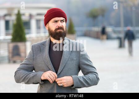 mit Jacke Outfit Seine zuzuknöpfenHipster Hut Zubehör und QBexWrCdo