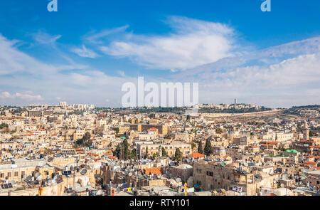 Blick auf die Altstadt von Jerusalem. - Stockfoto