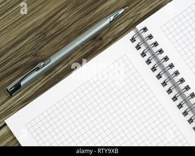 In der Nähe von Leer Notebook und einen Stift auf hölzernen Schreibtisch mit Kopie Raum - Stockfoto