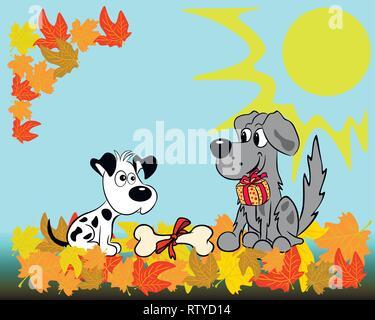 Vor dem Hintergrund der Herbst Landschaft, einem Hund gratuliert der Anderen an seinem Geburtstag ein Geschenk und ein Knochen. - Stockfoto
