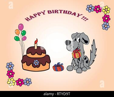 Auf die Postkarte Happy Birthday Hund mit einem Geschenk in seine Zähne, Kuchen und Blumen. - Stockfoto