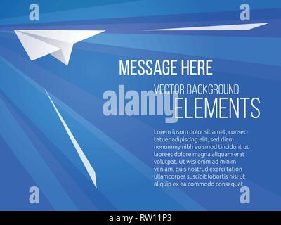 Vector Template für Banner Werbung der Fluggesellschaft mit einem papierflieger. Blauer Hintergrund mit geraden Linien. - Stockfoto