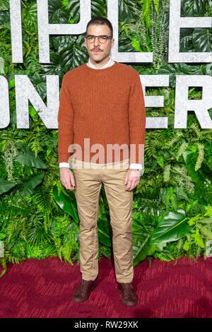 """New York, New York, USA. 3. März, 2019. Schauspieler Zachary Quinto besucht die Weltpremiere von Netflix """"Triple Frontier"""" bei Jazz at Lincoln Center in New York City am 3. März 2019. Quelle: Jeremy Burke/Alamy leben Nachrichten - Stockfoto"""