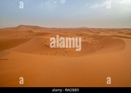 Gebogene und gemusterten Dünen von Erg Chabbi, Merzouga, Marokko Sahara - Stockfoto