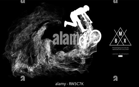 Abstrakte Silhouette eines BMX-rider auf der dunklen, schwarzen Hintergrund von Partikeln ist. Bmx-Fahrer springt und führt den Trick. - Stockfoto