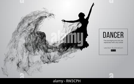 Abstrakte Silhouette einer dencing Mädchen, Frau, Ballerina auf dem weißen Hintergrund. Ballett und Modern Dance. - Stockfoto