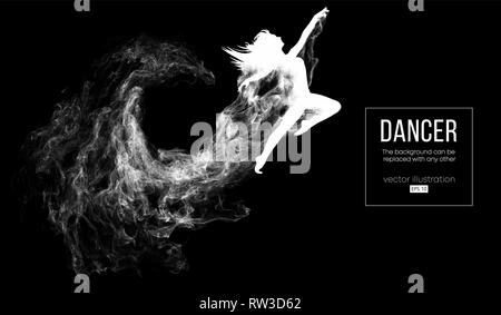 Abstrakte Silhouette einer dencing Mädchen, Frau, Ballerina auf der dunklen, schwarzen Hintergrund. Ballett und Modern Dance. - Stockfoto