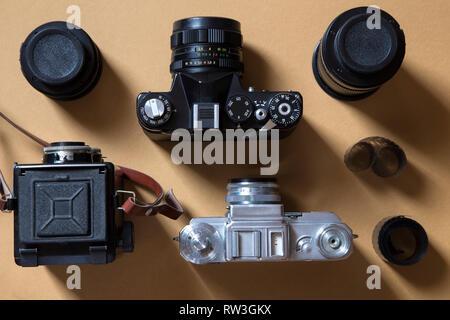 Der klassische Kameras und Ausrüstung Stockfoto