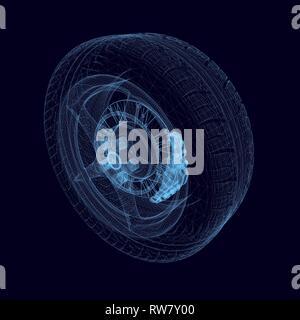 Drahtmodell der Räder aus dem Auto des blauen Linien. Polygonale Auto Rad auf einem dunklen Hintergrund. 3D. Vector Illustration - Stockfoto