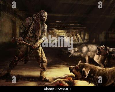Post-nuklearen Apokalypse überlebender kämpft um sein Leben mit mutierten Hunden. - Stockfoto