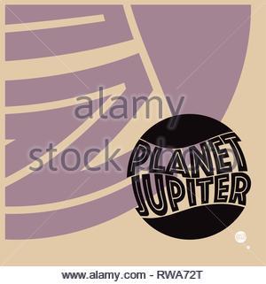 Grafik Verhältnis Größe Sonne Jupiter Erde Mond in retro Farben - Stockfoto