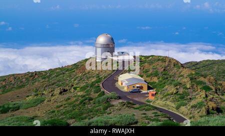 Roque de Los Muchachos Observatorium, Insel La Palma, Kanarische Inseln, Spanien, November, 20 2018 - Stockfoto