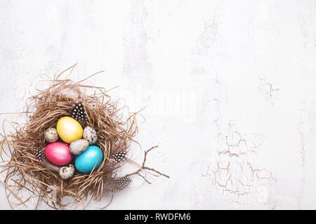 Bunte Ostereier im Nest auf weißem Risse Hintergrund. Ansicht von oben, Kopieren spase. Stockfoto