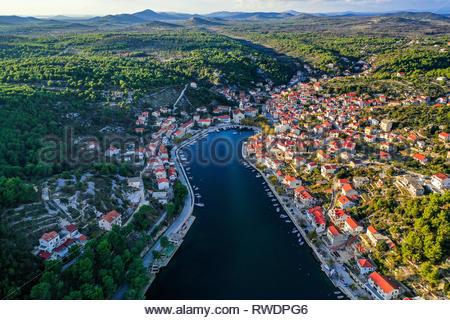Schöne Luftaufnahme von Zaton, Kroatien - Stockfoto