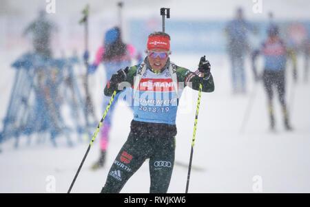 07 März 2019, Schweden, Östersund: Biathlon: Weltmeisterschaft, Training Männer/Frauen. Laura Dahlmeier aus Deutschland in Aktion. Foto: Sven Hoppe/dpa - Stockfoto