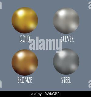 Festlegen von realistischen Gold, Silber, Bronze und Stahl metall Kugeln, Vektor goldenen Kugeln. - Stockfoto