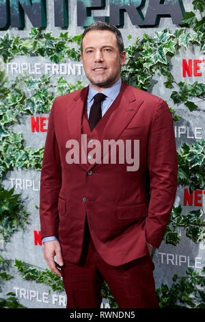 Ben Affleck besucht die Triple Frontera Premiere Callao City Lights in Madrid. - Stockfoto