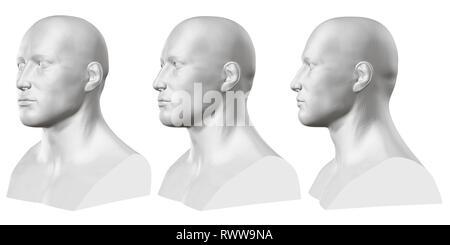 Vektor einrichten von isolierten männliche Büsten von Schaufensterpuppen auf weißem Hintergrund. 3D. Männliche Büste von verschiedenen Seiten. Vector Illustration - Stockfoto