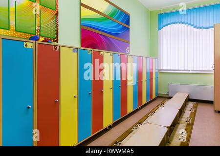 Umkleidekabine im kindergarten - Stockfoto