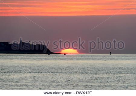 Sommer Sonnenaufgang am Gurnet Punkt in Plymouth, Massachusetts - Stockfoto