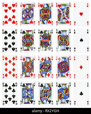 Satz Spielkarten isoliert auf Weiss: Zehn, Bube, Dame, König, Ass. - Stockfoto