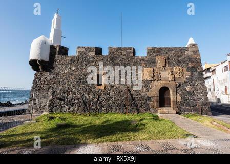 San Miguel schloss, alte defensive Festung in Garachico, Teneriffa, Kanarische Inseln. - Stockfoto