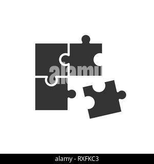 Puzzle kompatibel Symbol im flachen Stil. Jigsaw Vereinbarung Vector Illustration auf weißem Hintergrund isoliert. Zusammenarbeit solution business Konzept. - Stockfoto