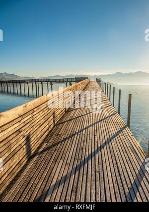 Der holzsteg, Teil der mittelalterlichen Jakobsweg, der Zürichsee Kreuzung zwischen Rapperswil (Sankt Gallen) und Hurden (Seedam, Schwyz), Schweiz - Stockfoto