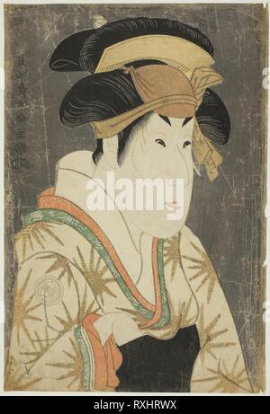 Der Schauspieler Segawa Kikunojo III als Oshizu, Ehefrau von Tanabe Bunzo. Toshusai Sharaku??? ??; Japanisch, aktive 1794-95. Datum: 1794. Abmessungen: 36,6 x 24,6 cm. Farbe holzschnitt; Oban. Herkunft: Japan. Museum: Das Chicago Art Institute. - Stockfoto