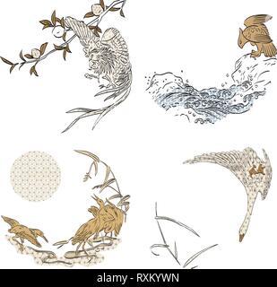 Japanische Hand gezeichnet Vögel Vorlage. Vögel Elemente mit Pine Tree, Wave und Anlage Hintergrund Vektor. Asiatische Einladungskarte. - Stockfoto